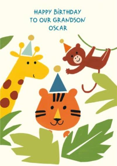 Jungle Animals To Our Grandson Birthday Card