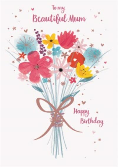 Watercolour Flower Bouquet Personalised Birthday Card