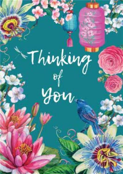 Floral Japenese Thinking Of You Card