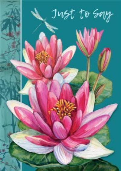 Floral Water Lily Just A Note Card