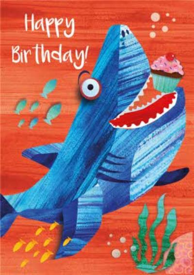 Cute Shark And Cupcake Birthday Card