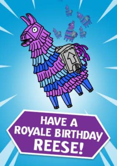 Video Game Royale Llama Birthday Card