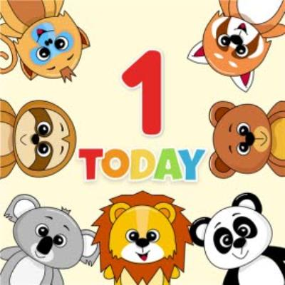 1 Today Animal Characters Children's Birthday Card