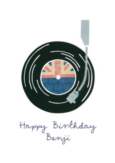 British Record Player Personalised Happy Birthday Card