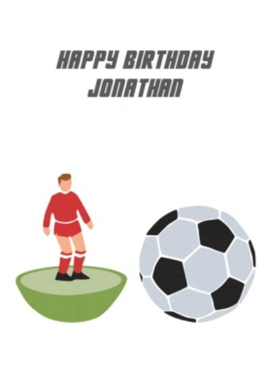 White Table Football Personalised Happy Birthday Card