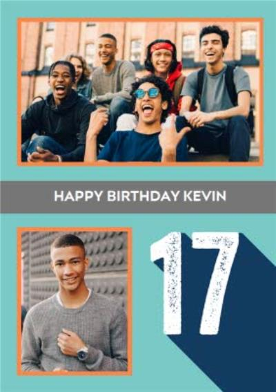 Happy Birthday 17 Photo Upload Card