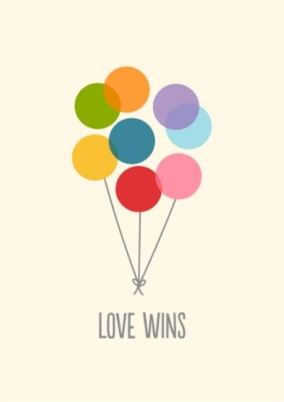 Illustrated Balloons Love Wins Card