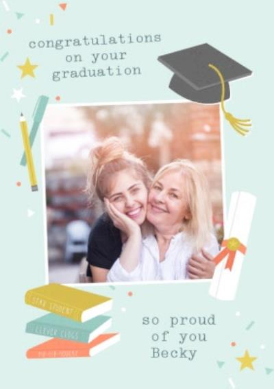 Congratulations On Your Graduation So Proud Photo Upload Card