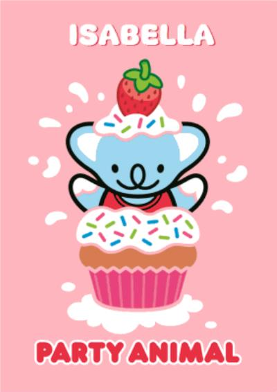 Koala In A Cupcake Party Animal Personalised Happy Birthday Card