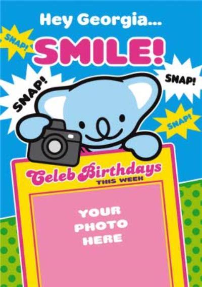 Koala With Camera Personalised Photo Upload Happy Birthday Card