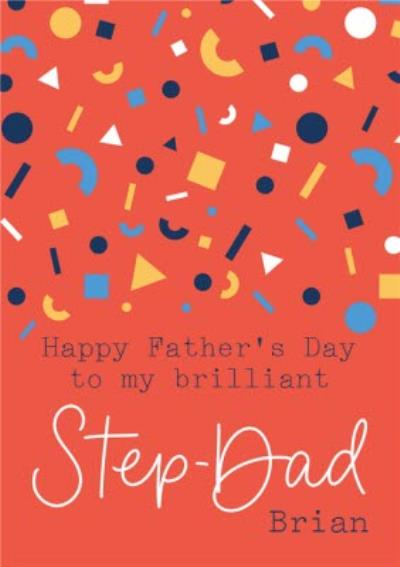 Abstract Confetti Brilliant Step Dad Father's Day Card