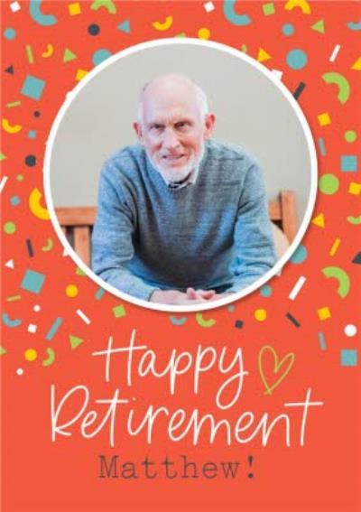 Bright  Confetti Photo Upload Retirement Card