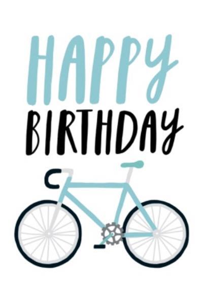 Happy Birthday Bike Illustration Card