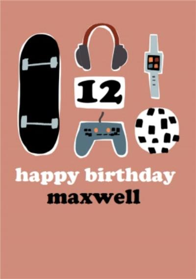 So Groovy Illustrated Modern 12th Birthday card