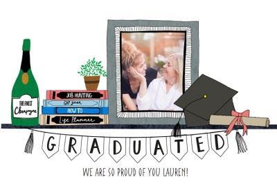 Graduated Bunting Congrats Photo Card