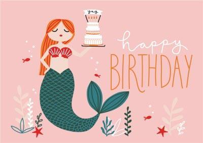 Birthday Card - Happy Birthday - Mermaid