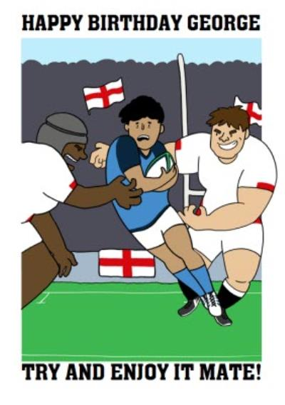 Funny English England Rugby Team Birthday Card Try and Enjoy it mate!