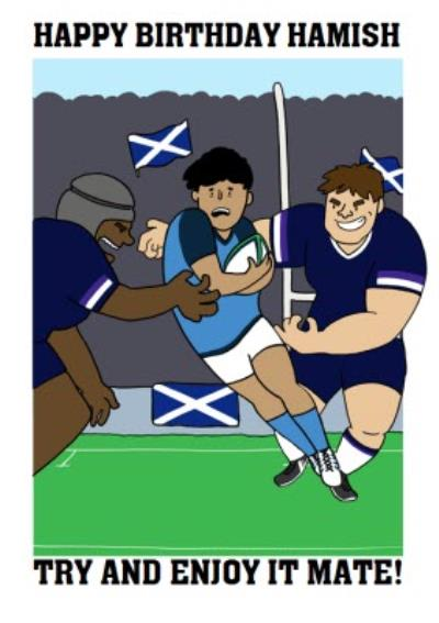 Funny Scottish Scotland Rugby Team Birthday Card Try and Enjoy it mate!
