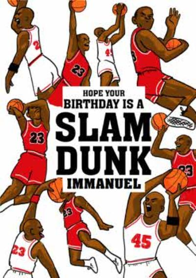 Michael Jordan Basketball Slam Dunk Birthday Card