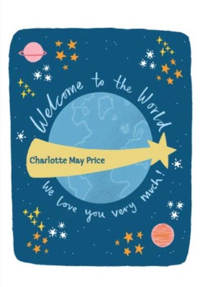 Modern Illustration Shooting Star The World In Space Personalise New Baby Card