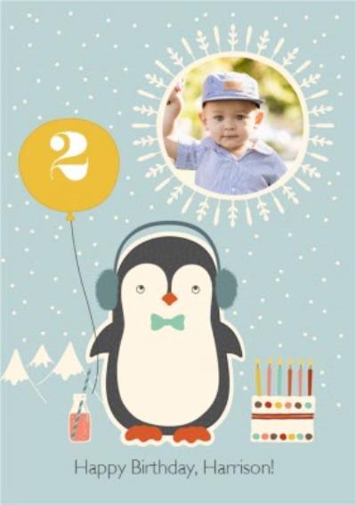 Cartoon Penguin Happy Birthday Photo Card
