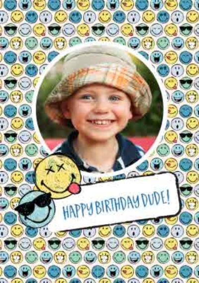 Smiley World Happy Birthday Dude Photo Upload Card