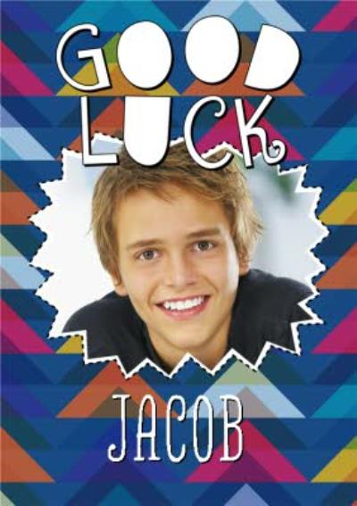 Colourful Patterned Personalised Photo Upload Good Luck Card