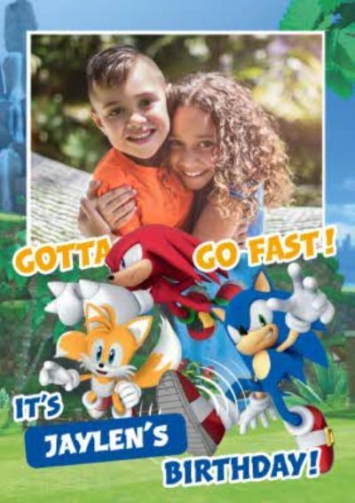 Sega Sonic Kids Gotta Go Fast Photo Upload Birthday Card