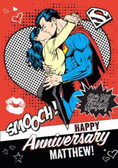 Superman Smooch He's My Hero Personalised Happy Anniversary Card