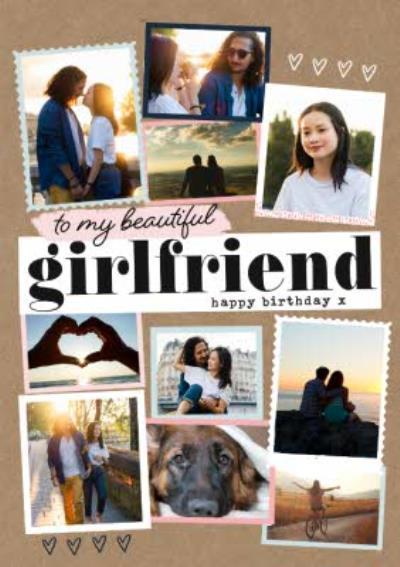 Modern Photo Upload Collage To My Beautiful Girlfriend Birthday Card