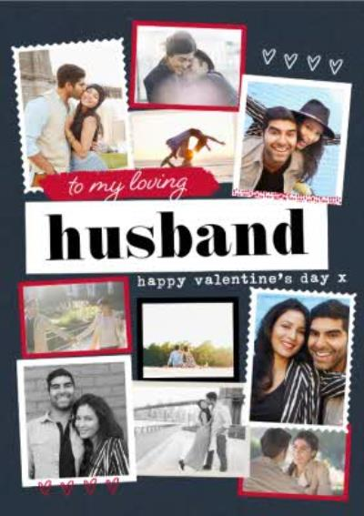 Modern Photo Upload Collage Happy Valntines Day To My Loving Husband Card