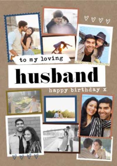 Modern Photo Upload Collage To My Loving Husband Birthday Card