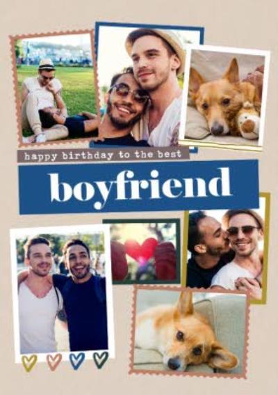Modern Photo Upload Collage Happy Birthday To The Best Boyfriend Card