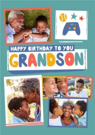 Modern Photo Upload Collage Gamer Grandson Birthday Card
