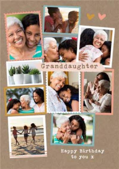 Modern Photo Upload Collage Granddaughter Birthday Card