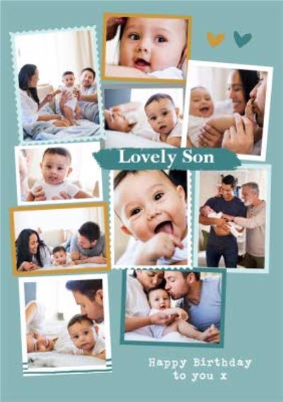 Modern Photo Upload Collage Lovely Son Birthday Card