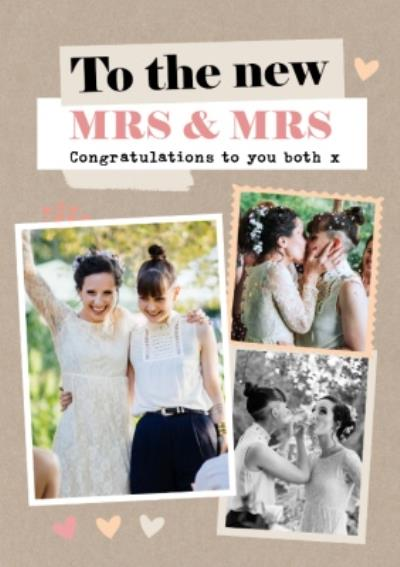 To The New Mrs & Mrs Framed Photo Upload Congratulations Wedding Card