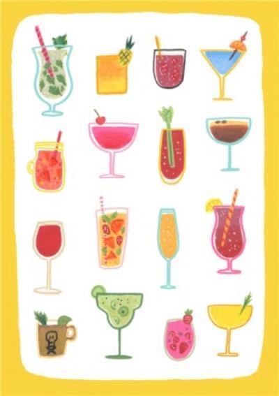 Cocktails Birthday Postcard