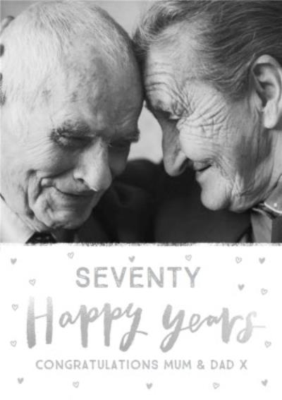 Seventy Happy Years 70th Anniversary photo upload card for Mum and Dad