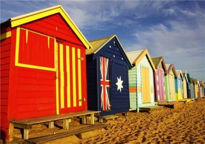 Beach Huts Personalised Greetings Card