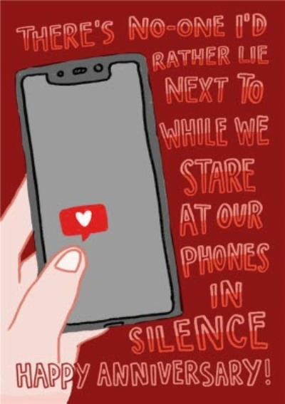 Stare At Our Phones In Silence Optional Photo Upload Anniversary Card