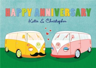 Pair Of Vw Camper Vans Personalised Happy Anniversary Card