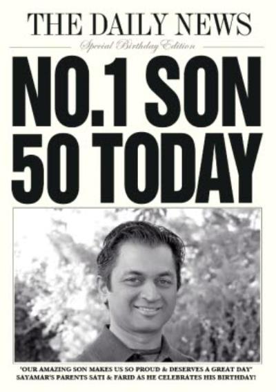 Daily News Number One Son 50 Today Birthday Card