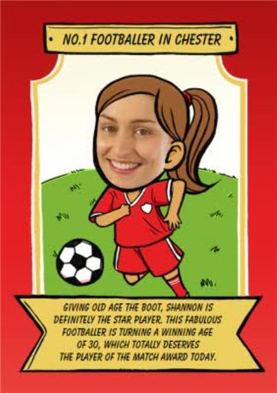 Birthday Card - Face In The Hole - Female - Photo Upload - Sport - Football