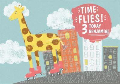 Giraffe On Roller Skates Personalised Birthday Card