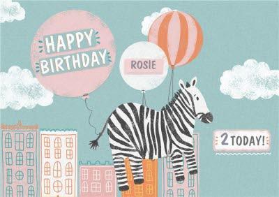 Flying Zebra Personalised Birthday Card