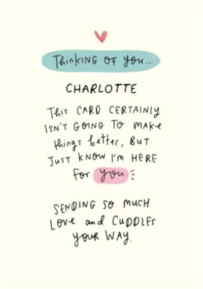 Here For You Writing Personalised Sympathy Card
