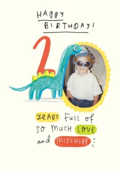 Dinosaur Second Birthday Photo Upload Card