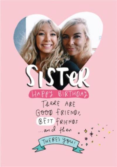 Happy Birthday Sister Heart Photo Upload Card