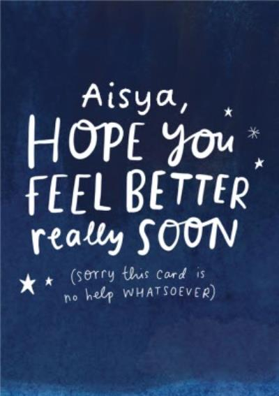 Personalised Typographic Hope You Feel Better Star Card